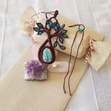 Collar Boho macramé árbol de la vida turquesa y chocolate2