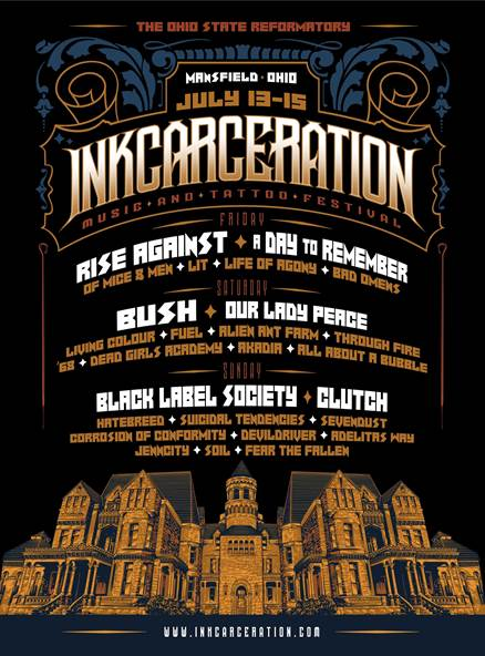 Lineup for the first ever Inkcarceration music and tattoo festival 2018 has been announced!