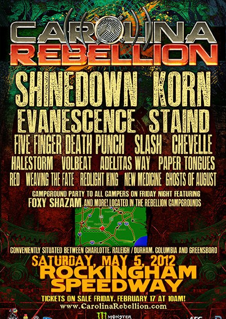 Carolina Rebellion 2012 lineup has been announced.
