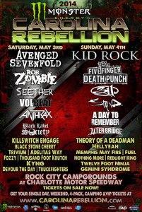 Lineup announcement for Carolina Rebellion 2014.