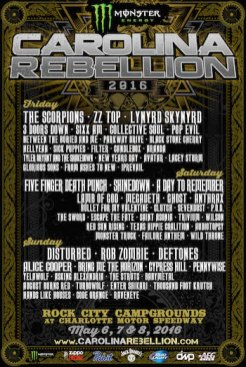 Carolina Rebellion announces lineup + expansion to 3 days for 2016.
