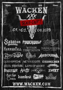 Wacken Open Air 2019 lineup includes 24 bands so far.