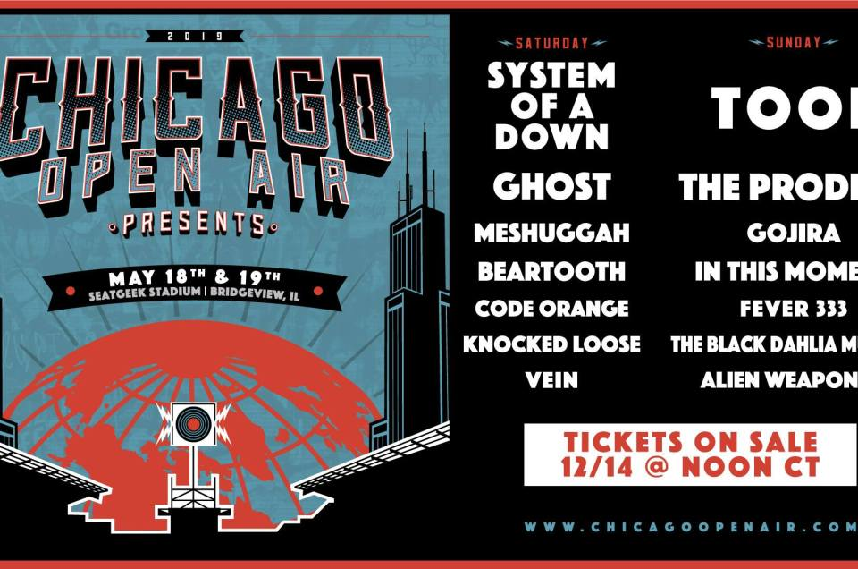 The lineup for Chicago Open Air 2019 rock and metal music festival has been announced.