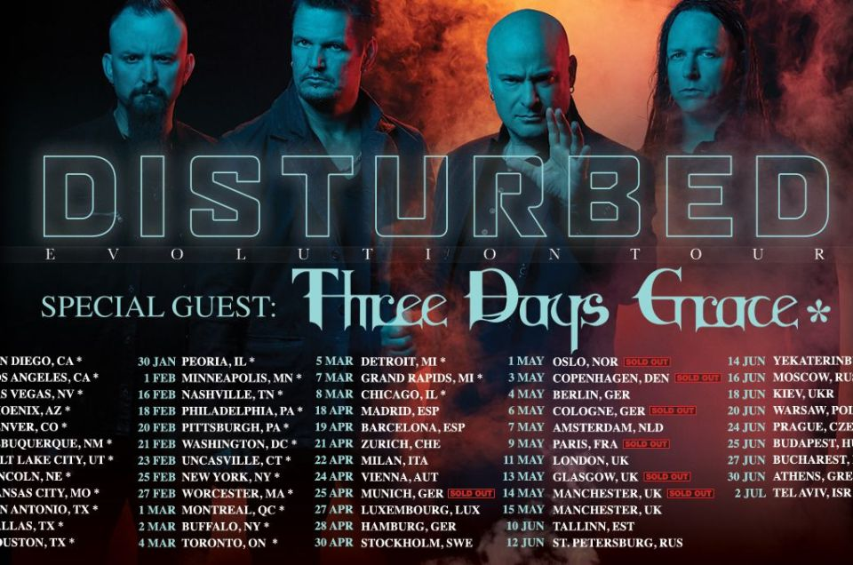 Disturbed has announced the Evolution Tour for 2019 with special guests Three Days Grace.