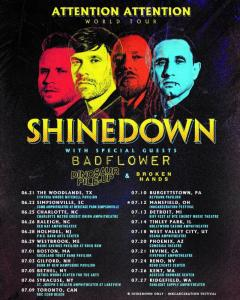 Shinedown add summer dates to Attention Attention World Tour 2019.