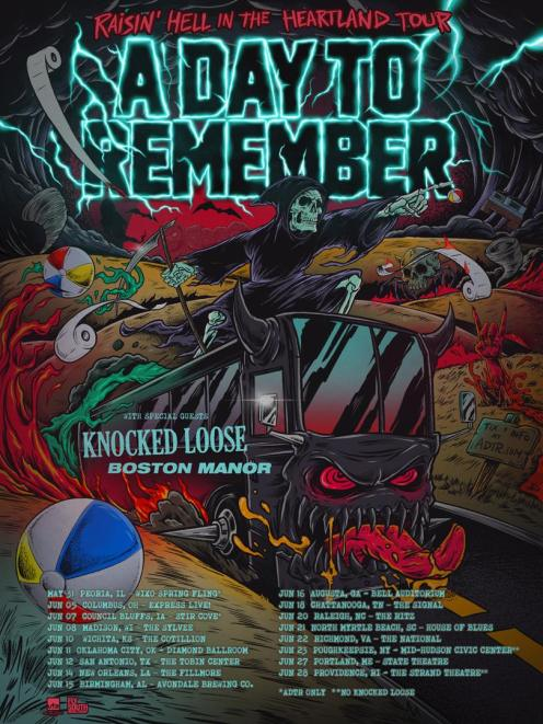 A Day To Remember announces Raisin' Hell in the Heartland Tour for summer 2019 with Knocked Loose and Boston Manor.