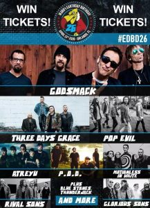 Win a pair of free tickets to WJRR's Earthday Birthday 26 festival, headlining Godsmack and Three Days Grace!