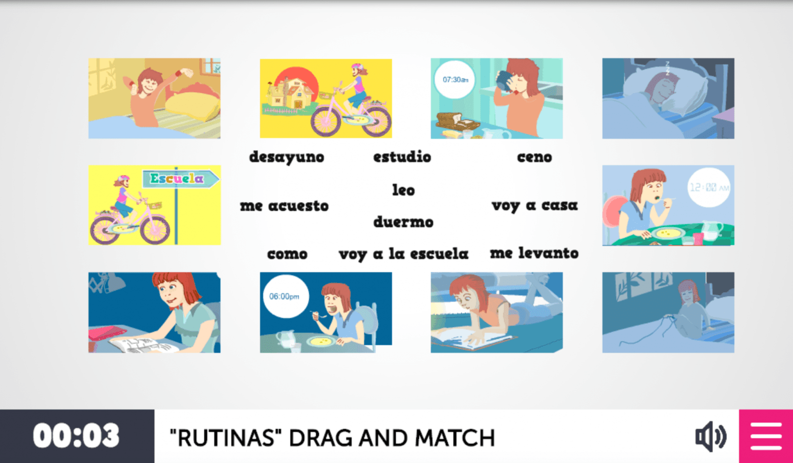 Spanish Game To Learn Daily Routines