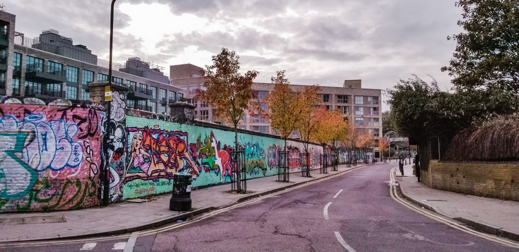 Graffiti on a wall in Stratford, London, England