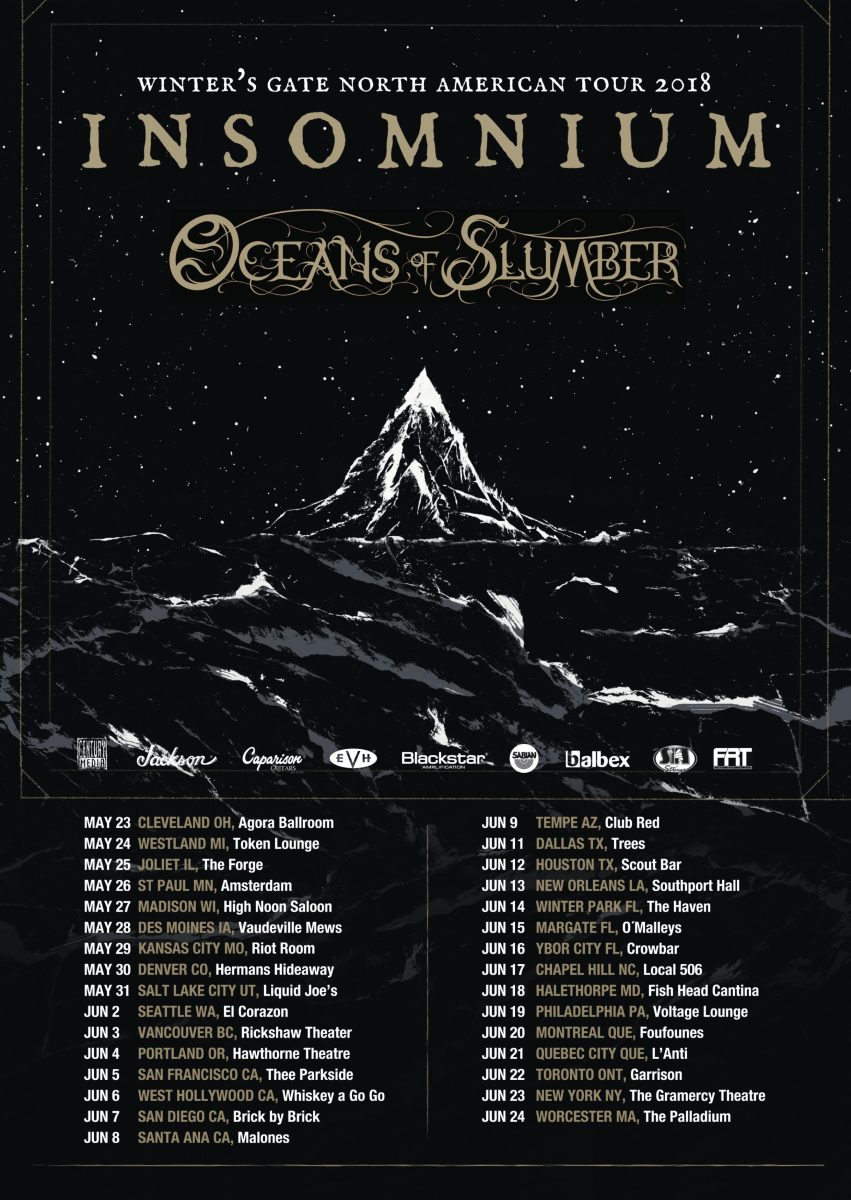 INSOMNIUM & OCEANS OF SLUMBER KICK OFF NORTH AMERICAN TOUR - ANNOUNCE TICKET GIVEAWAY CONTEST VIA METALSUCKS