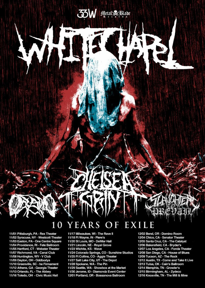 WHITECHAPEL Announces Ten Years Of Exile US Tour With Chelsea Grin, Oceano, And Slaughter To Prevail