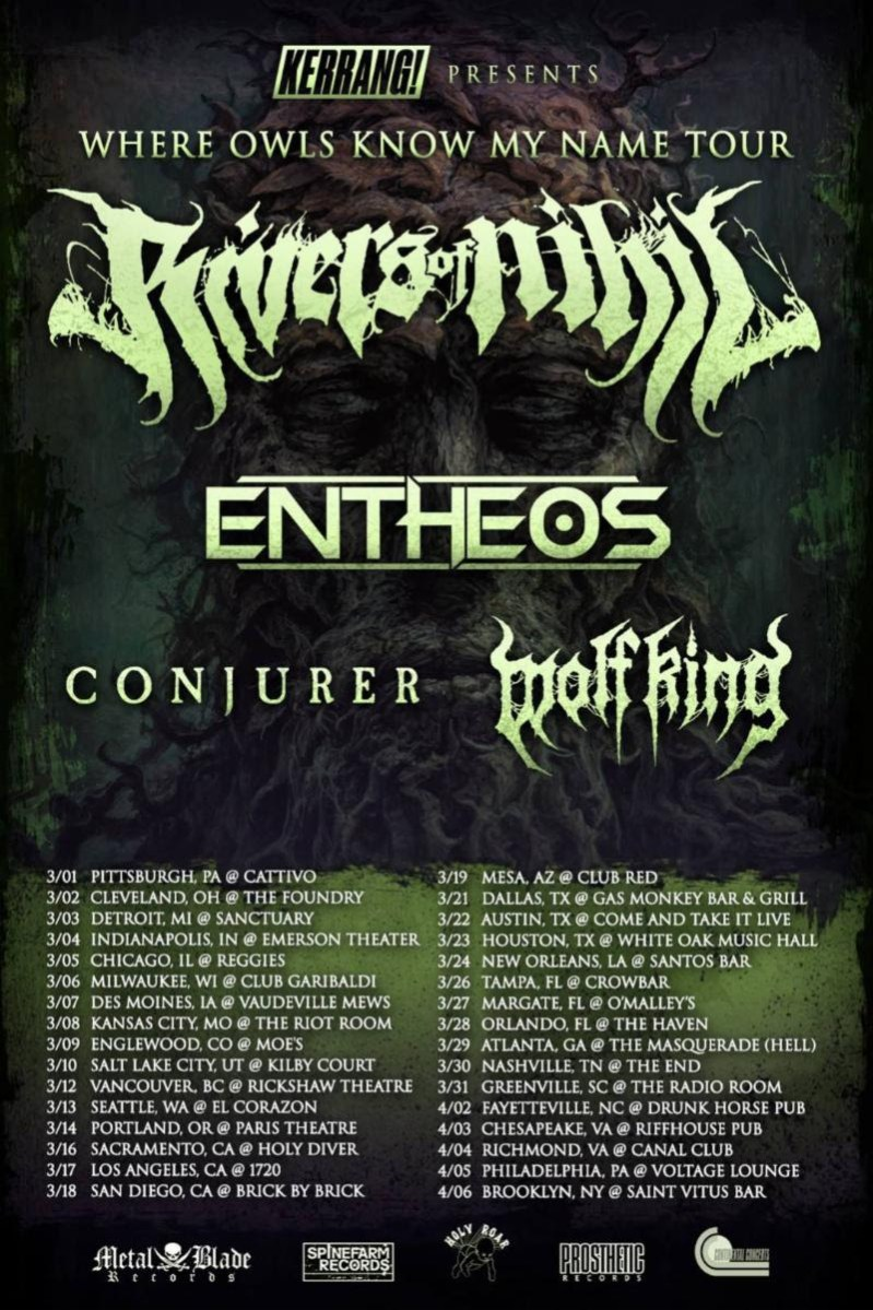 Rivers of Nihil announces USA headlining tour with Entheos, Conjurer, Wolf King