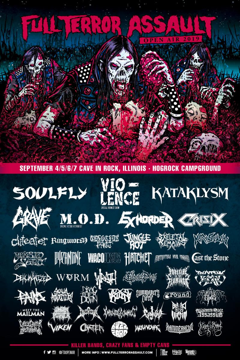 Full Terror Assault Open Air Festival Returns for Fifth Year with Headliners Soulfly, Vio-lence, Kataklysm, Grave, M.O.D. and More
