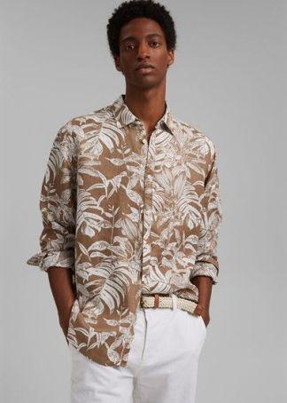 camisa de lino con estampado botanico