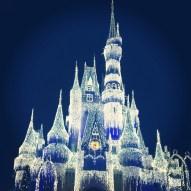 The castle lit up for the evening celebration