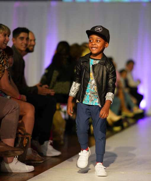 Unisex kids outfits for girl, boy, toddler or baby with leather look biker jacket, firs art shirt and blue denim pants