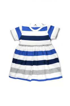 Blue striped baby bodysuit dress for girls, kids