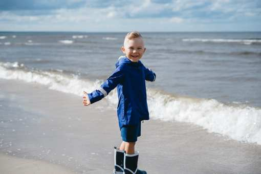 Toddler boy kids outfit with blue rain coat parka and blue shorts