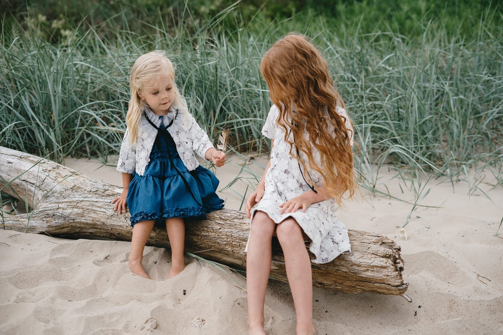 White lace and denim mini dress with tulle collar for kids, toddler, girl