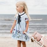 Sky flower collar dress for kids, toddler, baby, girl