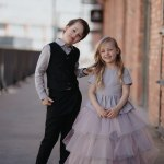 Toddler girls kids outfit with sparkly, pink peplum top and mega tulle skirt