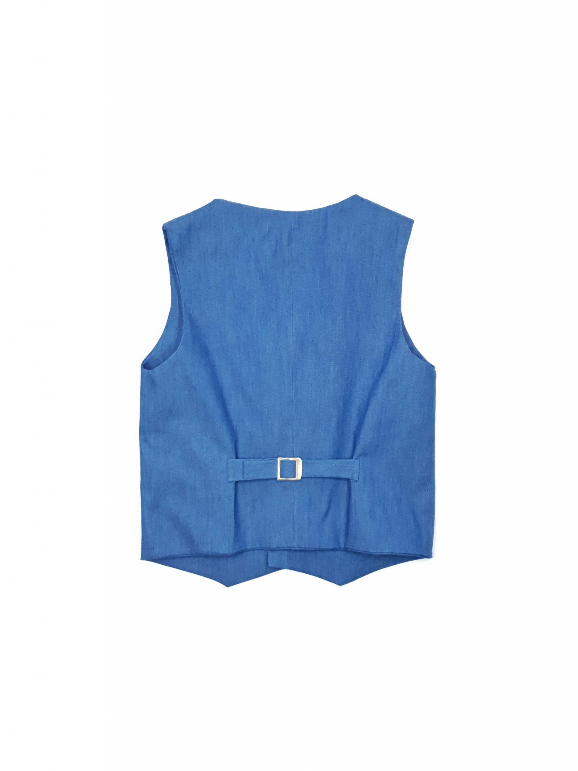 Elegant blue denim vest for kid boys