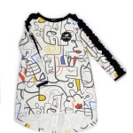 Long sleeve colourful faces jumper dress for girl, kid, toddler