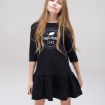 Black kids, girl, toddler and teen dress with silk screen printed Rock and Mouse logo