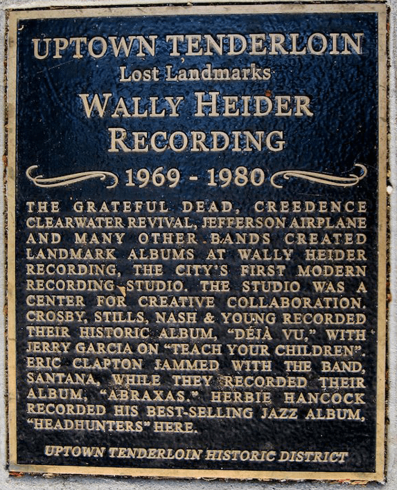 Wally Heider's San Francisco Studios Plaque
