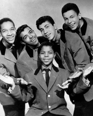 The original five Teenagers; from left to right: Jimmy Merchant, Herman Santiago, Frankie Lymon, Joe Negroni and Sherman Garnes.