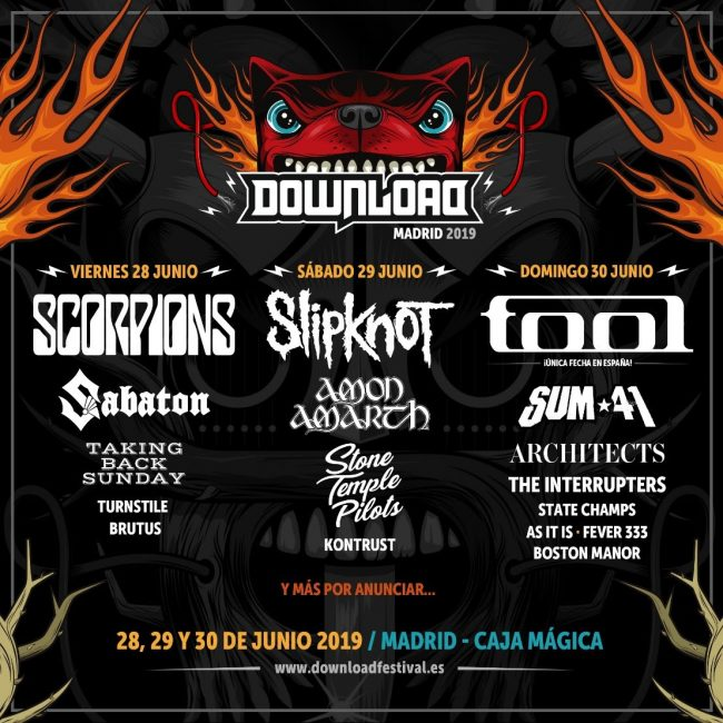 DOWNLOAD FESTIVAL MADRID 2019 - Cartel y entradas por días