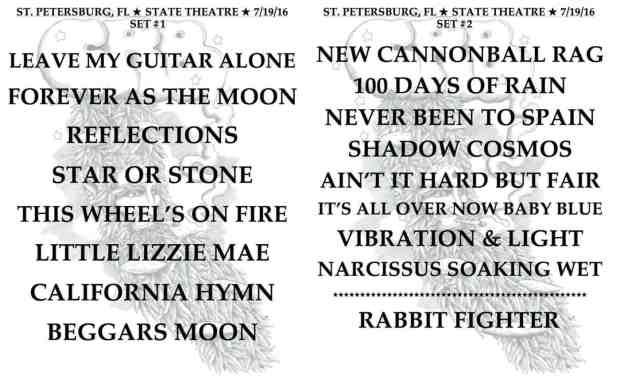 Set List-Chris Robinson Brotherhood-St Pete FL-July 19