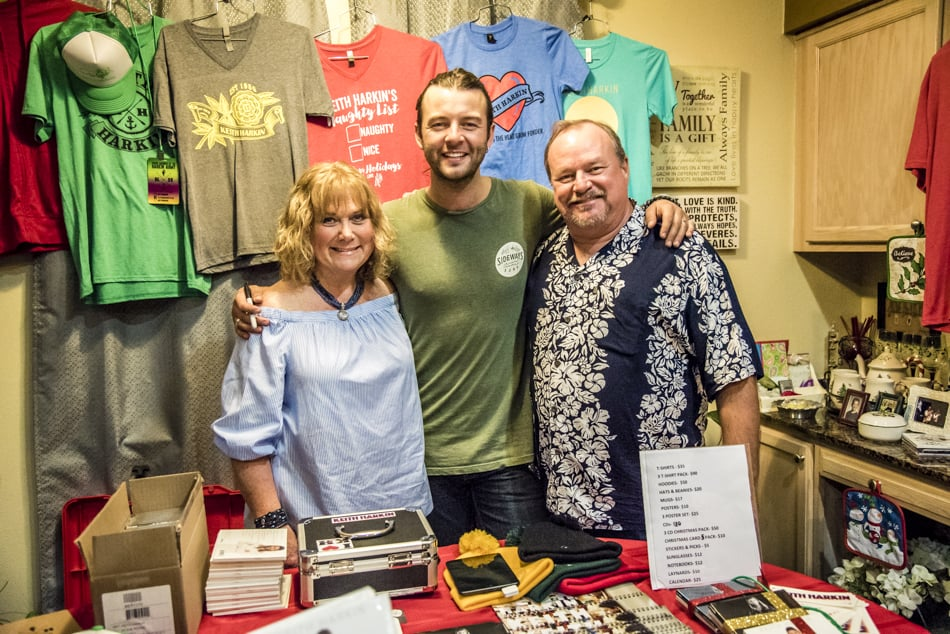 Keith Harkin with hosts Bonnie and Bruce Cardwell