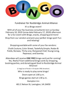 Flyer with details of Bingo event