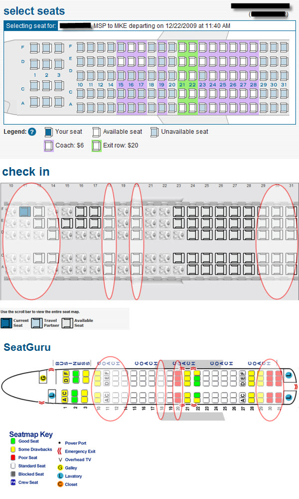 Comparing AirTran Booking & CheckIn Seat Maps