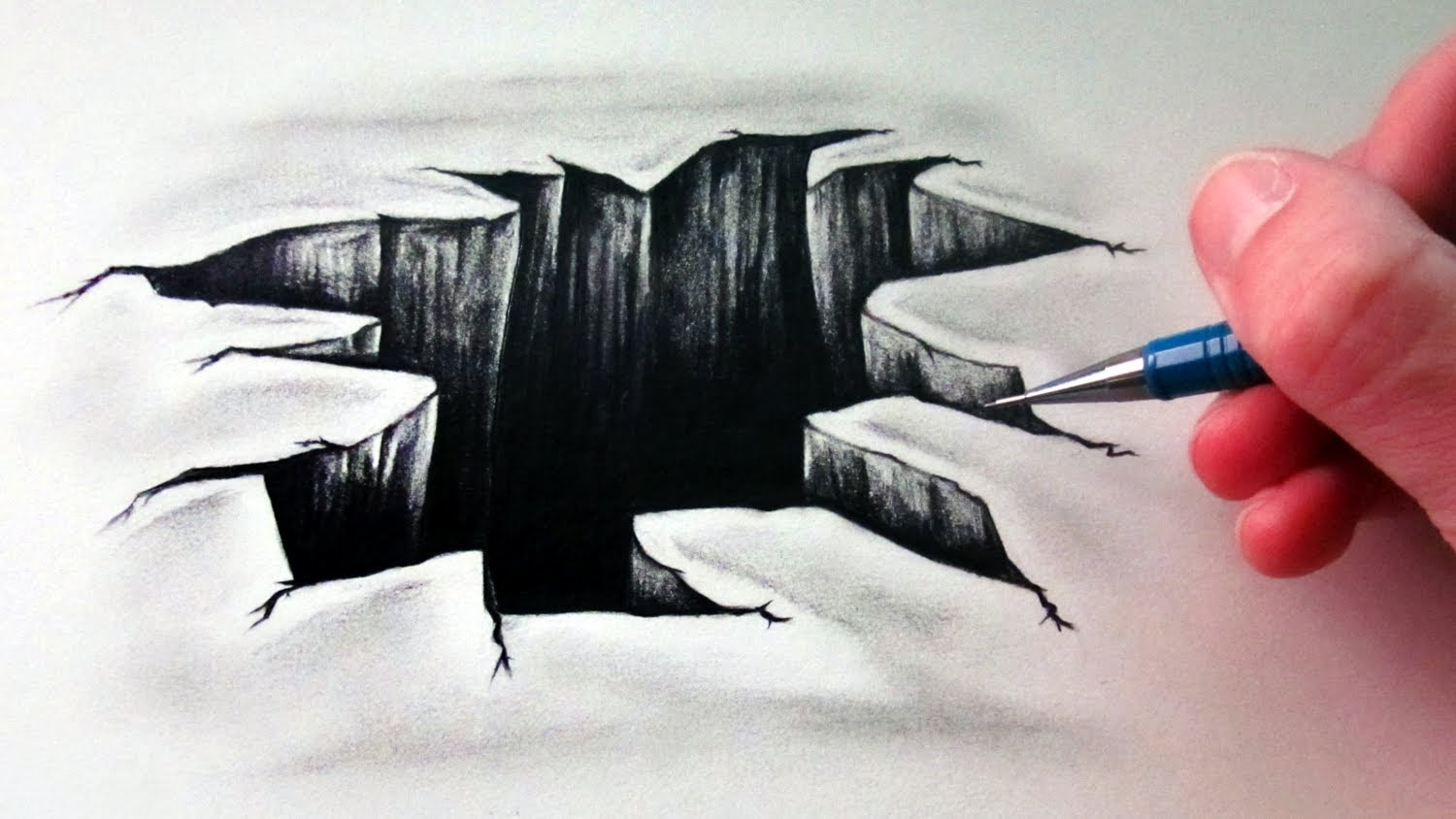 How to draw 3d hole step by step on paper tutorial for for Simple 3d art