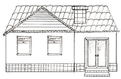 How to draw a house home building for beginners kids for How to draw a two story house step by step