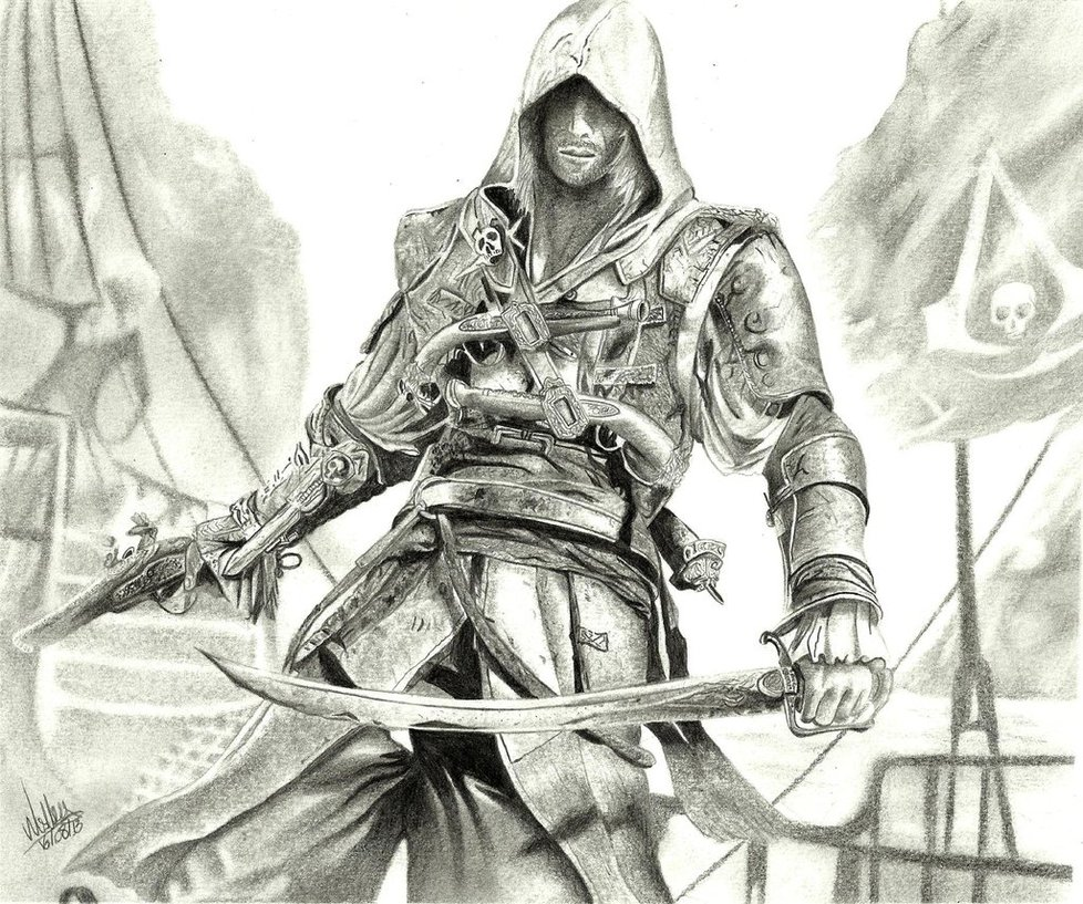 Tutorial to draw assassins creed 4: black flag step by step easy video for beginners