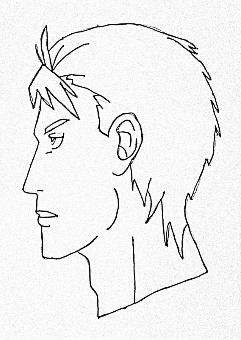 Side Face Line Drawing : How to draw male anime face side view step by for