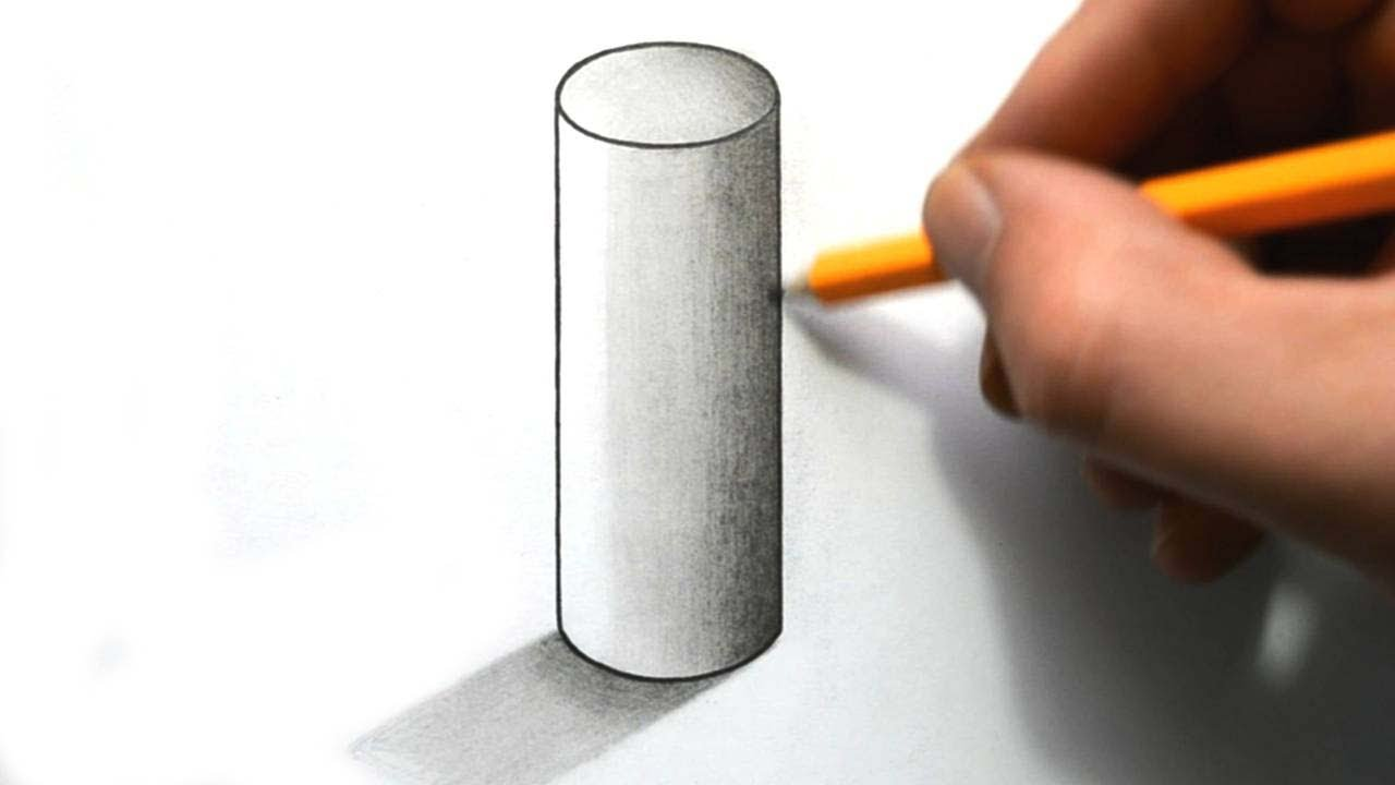 How To Draw Cylinder In 3d Perspective Easy Step By Step