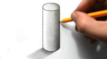 How to draw cylinder in 3d perspective easy step by step for beginners