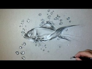 how to draw a fish in water