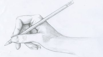 How to draw hand holding a pencil step by step easy for beginners