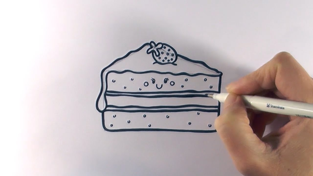 How to draw a slice piece of cake on paper step by step ...
