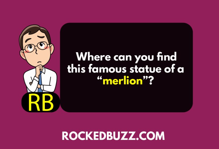 """Where can you find this famous statue of a """"merlion""""?"""