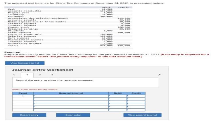 final examination part ce help sav the adjusted trial balance for china tea company