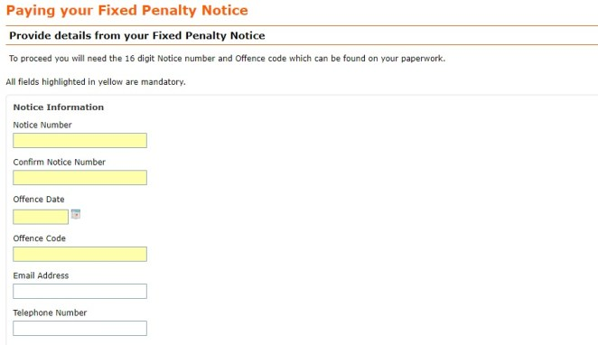 penaltynotice.direct.gov .uk PAY Online Payment speeding