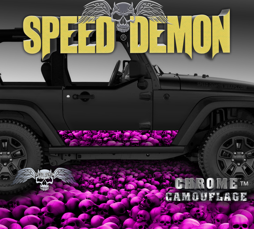 Jeep Rocker Wrap SKULL CRUSHER Hot Pink