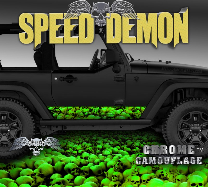 Jeep Wrangler Rocker Wrap SKULL-CRUSHER Green
