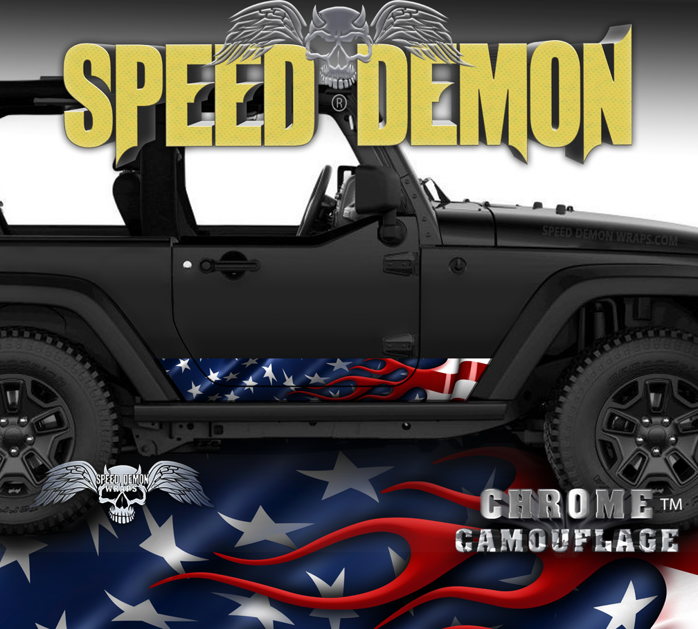 Jeep Wrangler Rocker Wraps American Flag